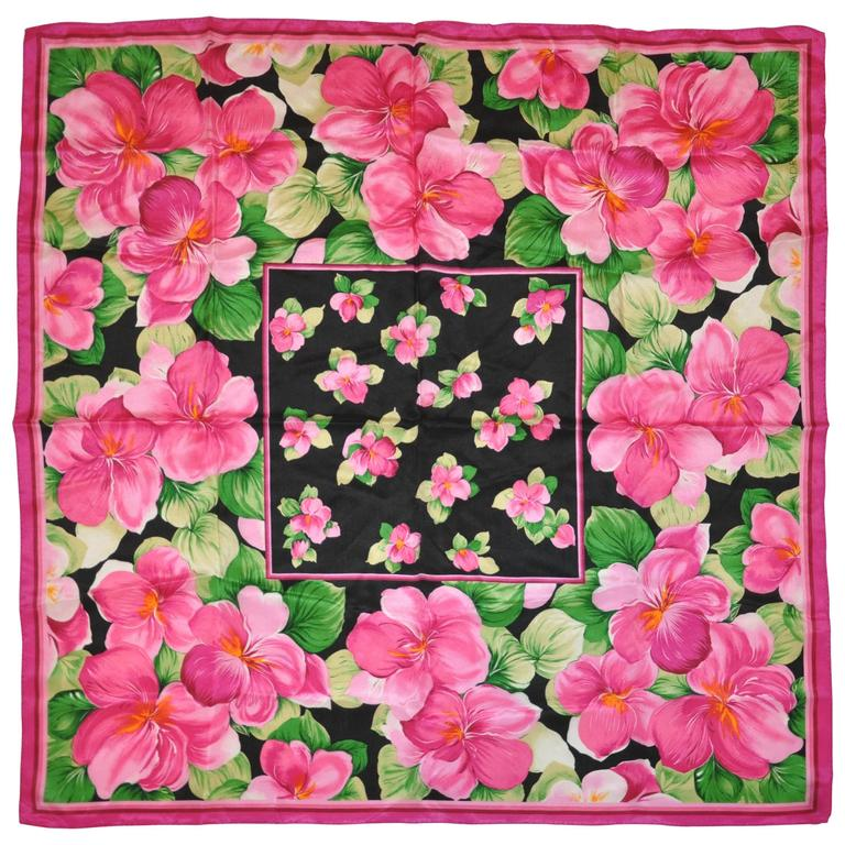"Adrienne Vittadini ""Burst of Fuchsia Flowers"" Silk Scarf For Sale"