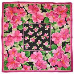 "Adrienne Vittadini ""Burst of Fuchsia Flowers"" Silk Scarf"