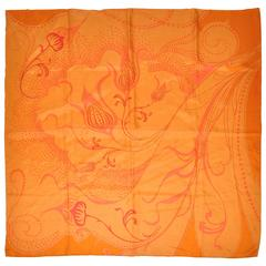 "Warm Tangerine with ""Orange Swirls"" Silk Scarf"