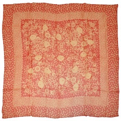 Large Red & Cream Silk Chiffon Floral Scarf