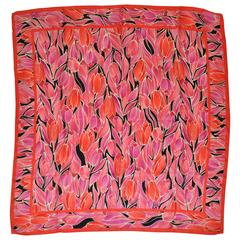 "Adrienne Landau Rose Border with ""Collection of Tulips"" Silk Scarf"