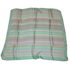 Missoni Powder Green Border with Multi Zigzag Center Silk Scarf