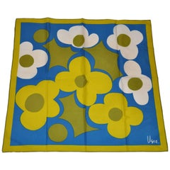 Vera Scarf with Flowers of Turquoise and Olive with Olive Borders, 1960s