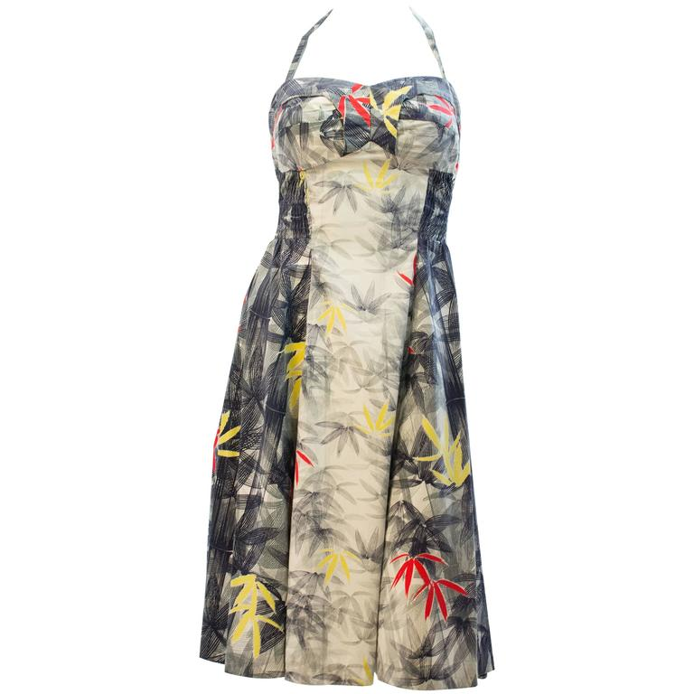 50s Bamboo Leaf Print Navy & White Tiki Dress