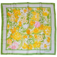 S. N. Kent Lime Border with Yellow & White Floral Center Scarf