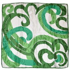 "Vera Vivid Bold Green Borders with ""Swirl"" Center Silk Scarf"