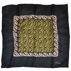 "Gaucold Hand-Painted ""Black Border & Coffee & Black Center"" Handkerchief"