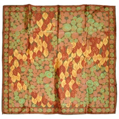 "Multi-Color ""Leaves & Circles"" Accented with Circle Border Scarf"