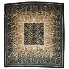 Huge Black, Taupe & Gray Wool Challis Scarf with Black Fringe