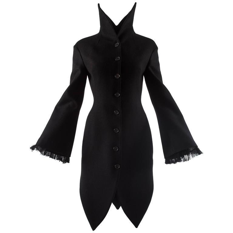 Alexander Mcqueen black wool evening coat, autumn-winter 2008 For Sale