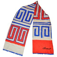 Burmel Bold Red, White and Blue Double-Layered Rectangle Fringed Silk Scarf