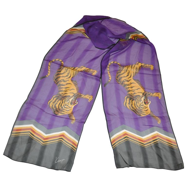 "Kenzo ""Pair of Tigers"" Silk Chiffon Rectangle Scarf"
