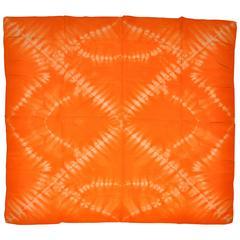 "Large Bold Tangerine & White ""Tie-Dye"" Silk Scarf"