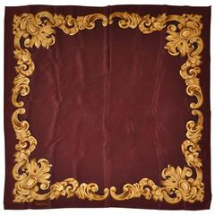 Ralph Lauren Deep Brown with Swirls of Gold Silk Scarf