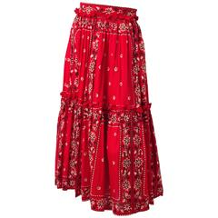 50s Red Paisley Print Western Skirt