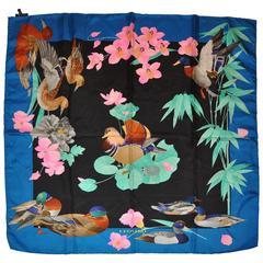 "Leonard ""Floral & Ducks"" Silk Jacquard Scarf"