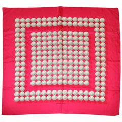"Hermes Bold Fuchsia ""Golf Balls"" Silk Jacquard Silk Scarf"