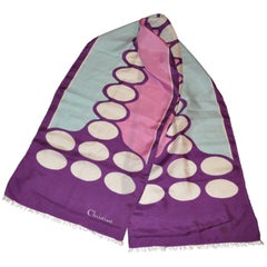 Christian Dior Purple With Oval Center Rectangle Fringed Silk Scarf