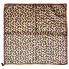 Ashear Beige Border with Tricolor Palsey Center Men's Silk Handkerchief