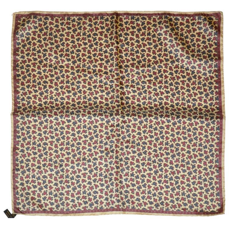 Ashear Beige Border with Tricolor Palsey Center Men's Silk Handkerchief