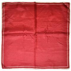 Ashear Deep Red with Cream Dots & Border Men's Silk Handkerchief