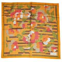 Jean Casavave Colorful Tangerine with Multi-Polka Dots Center Silk Scarf