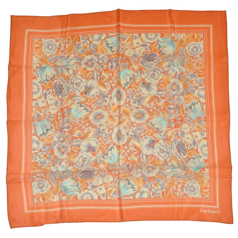 Cacharel Tangerine Floral Scarf For Sale