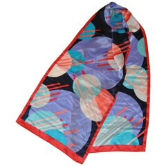 "Anne Klein Bold Multi-Color ""Dots & Sticks"" Silk Scarf"