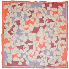 "Anne Klein ""Multi-White Flowers"" in Silk Chiffon With Lavender Borders Scarf"