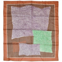 Jan C Hand-Printed Zig-Zag Multi-Color with Brown Border Scarf