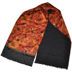 "Geoffrey Beene ""Autumn Leaves"" Silk with Black Cashmere Fringe Scarf"
