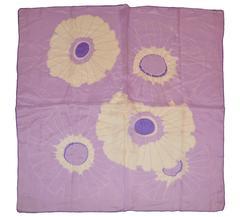 "Lavender & White ""Burst of Floral"" Silk Scarf"