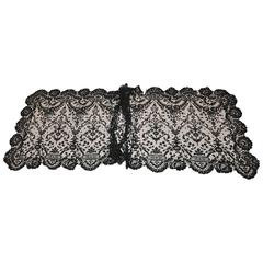 "Rare Huge Black Floral Lace & Netting Accent ""Widow Shawl"""