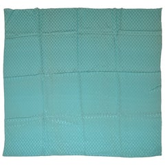 "Turquoise ""Hand-Knotted"" Textured Silk Crepe Di Chine Scarf"