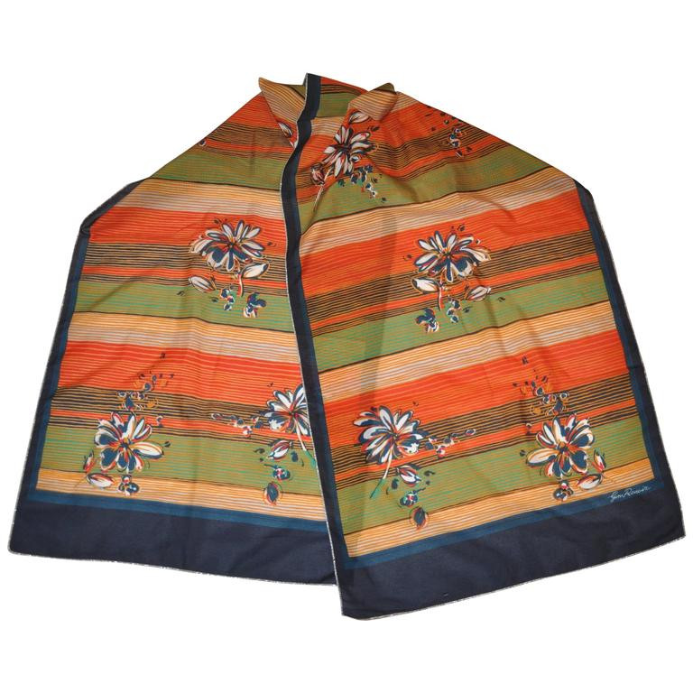 Renoir Large Multi-Color Accented with Metallic Silver Lame Edging Scarf