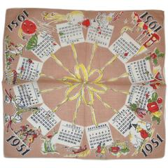 """1951"" Calendar Cotton Handkerchief"