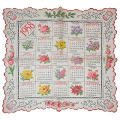 """1958"" Calendar Cotton Handkerchief"