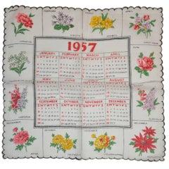 """1957"" Calendar Cotton Handkerchief"