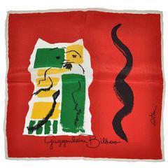 """Rare Estra Bold Vividly Detailed  """"Guggenheim Bilboo"""" Silk Handkerchief"""