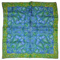 "Vera ""Multi Palsey in Blue"" Silk Scarf"