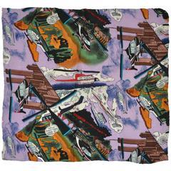 "Nicole Miller Vivid ""Transportation"" Silk Crepe di Chine Handkerchief"