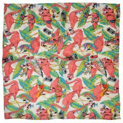 "Nicole Miller ""Flamingos"" Silk Crepe di Chine Handkerchief"