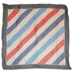 Vera Red White and Blue Stripes with Navy Border Scarf