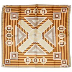 "Adolfo ""Shades of Warm Brown"" Silk Scarf"