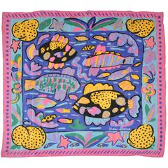 "Ken Done's 1985 Multi-Color ""Group of Fishes"" Silk Scarf"