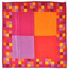 Adrienne Vittadini Large Red Block with Mini Blocks Silk Scarf