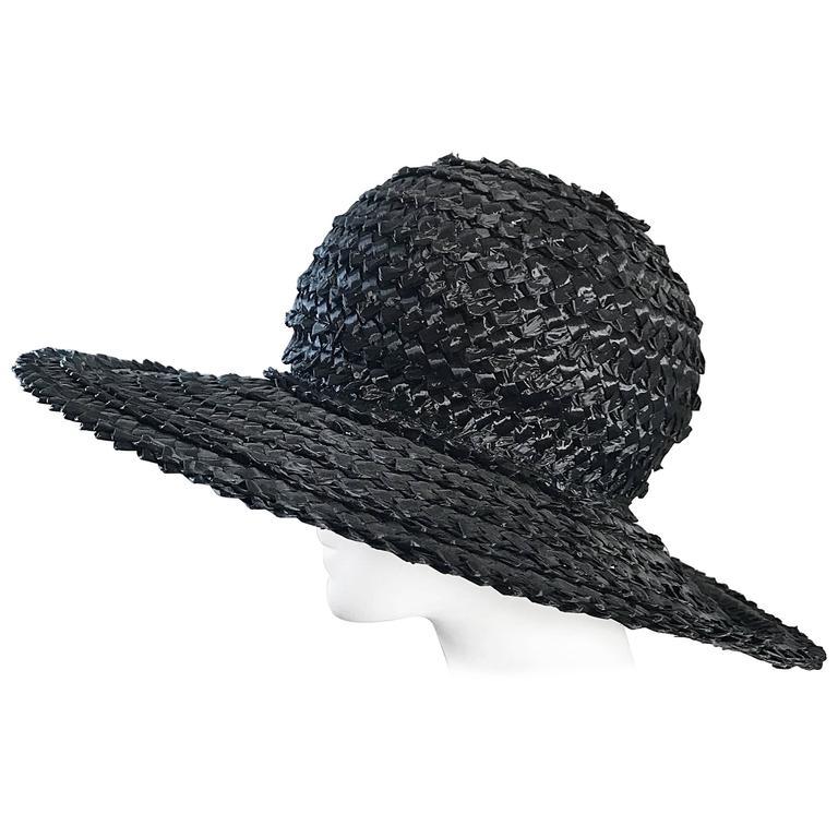1950s Don Anderson Black Raffia Straw Oversized 50s Vintage Wide Brim Hat  For Sale f873dee87c56