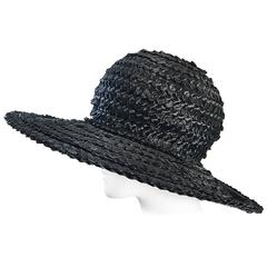 1950s Don Anderson Black Raffia Straw Oversized 50s Vintage Wide Brim Hat