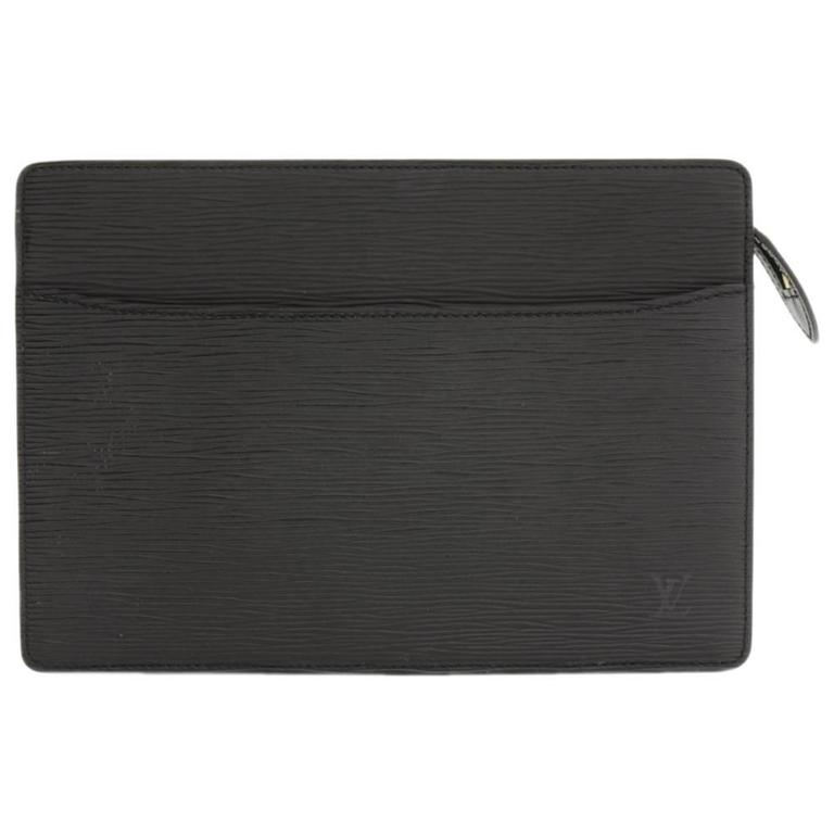 Louis Vuitton Pochette Homme Black Epi Leather Clutch Bag For Sale ...