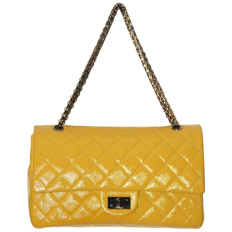 095e9a450469e0 CHANEL 2.55 REISSUE Anise Quilted Patent Leather Classic 227 Flap Bag For  Sale